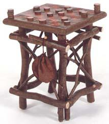 Frontier Checker Table with Game Pieces and Leather Storage Bag