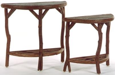 Halfmoon Tables with Lower Shelves