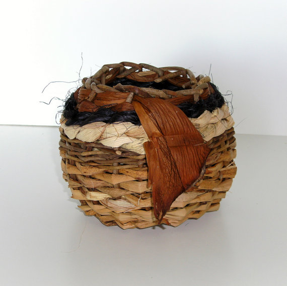 Natural Basket Woven with Materials Gathered from Nature